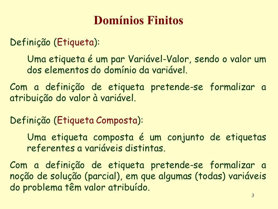 3 Domínios Finitos Definição (Etiqueta): Uma etiqueta é um par Variável-Valor, sendo o valor um dos elementos do domínio da variável.