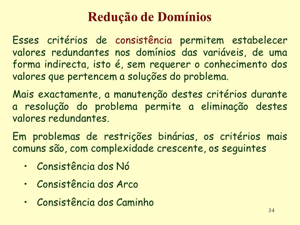 34 Redução de Domínios Esses critérios de consistência permitem estabelecer valores redundantes nos domínios das variáveis, de uma forma indirecta, isto é, sem requerer o conhecimento dos valores que pertencem a soluções do problema.