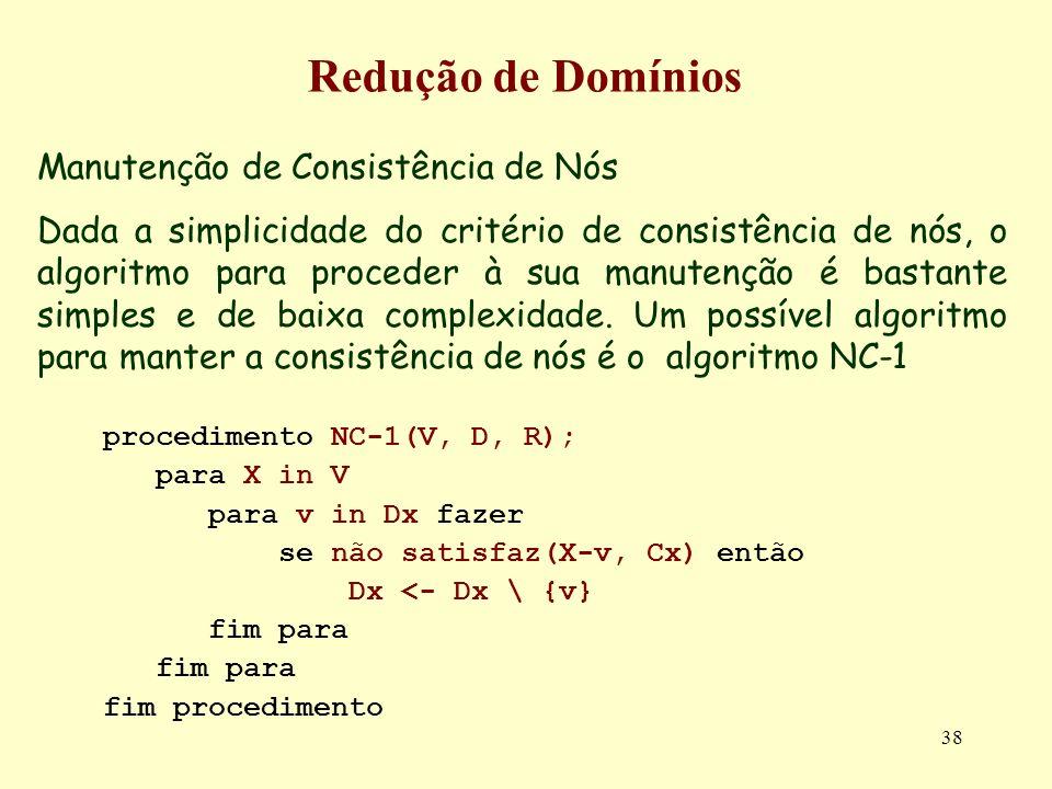 38 Redução de Domínios Manutenção de Consistência de Nós Dada a simplicidade do critério de consistência de nós, o algoritmo para proceder à sua manutenção é bastante simples e de baixa complexidade.