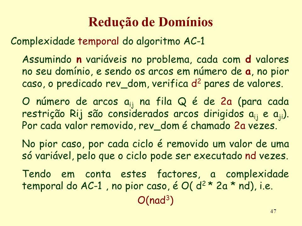47 Redução de Domínios Complexidade temporal do algoritmo AC-1 Assumindo n variáveis no problema, cada com d valores no seu domínio, e sendo os arcos em número de a, no pior caso, o predicado rev_dom, verifica d 2 pares de valores.