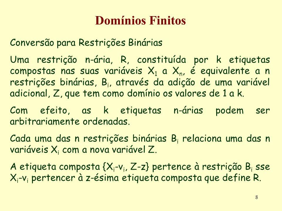 8 Domínios Finitos Conversão para Restrições Binárias Uma restrição n-ária, R, constituída por k etiquetas compostas nas suas variáveis X 1 a X n, é equivalente a n restrições binárias, B i, através da adição de uma variável adicional, Z, que tem como domínio os valores de 1 a k.