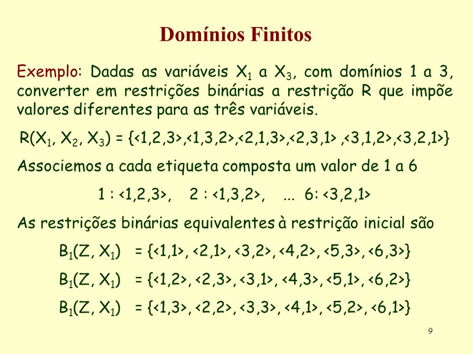 40 Redução de Domínios Complexidade temporal do algoritmo NC-1 Havendo n variáveis no problema, cada qual com d valores no seu domínio, e tendo em conta que cada valor é avaliado uma vez, é fácil concluir que o algoritmo tem uma complexidade O(nd).