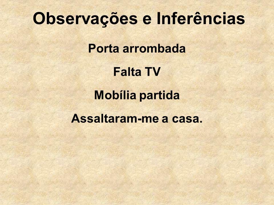Observações e Inferências Porta arrombada Falta TV Mobília partida Assaltaram-me a casa.