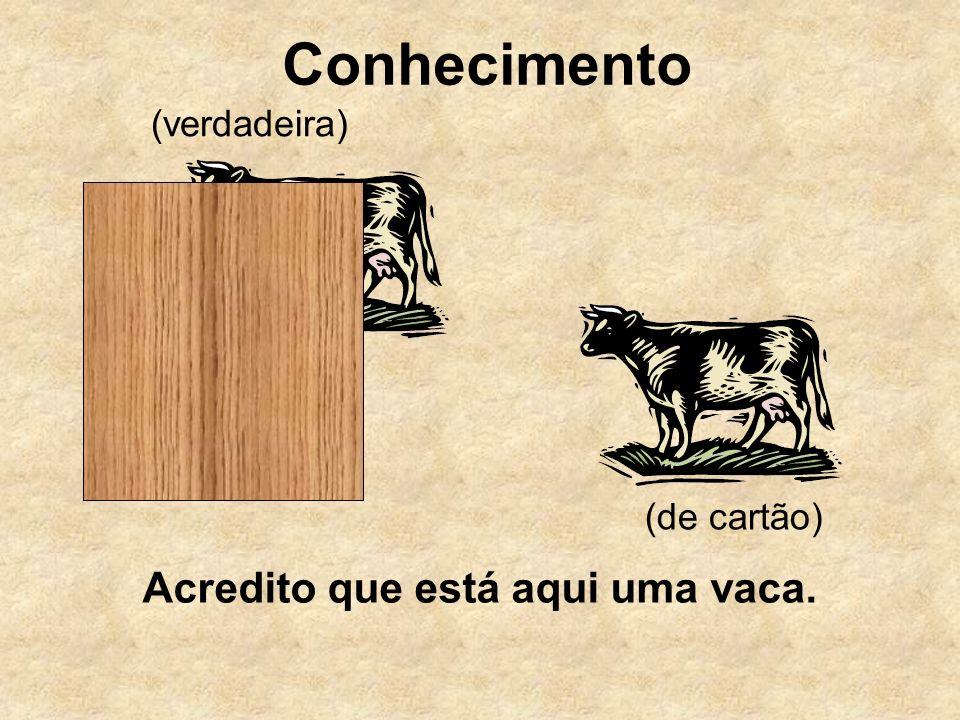 Conhecimento (de cartão) (verdadeira) Acredito que está aqui uma vaca.