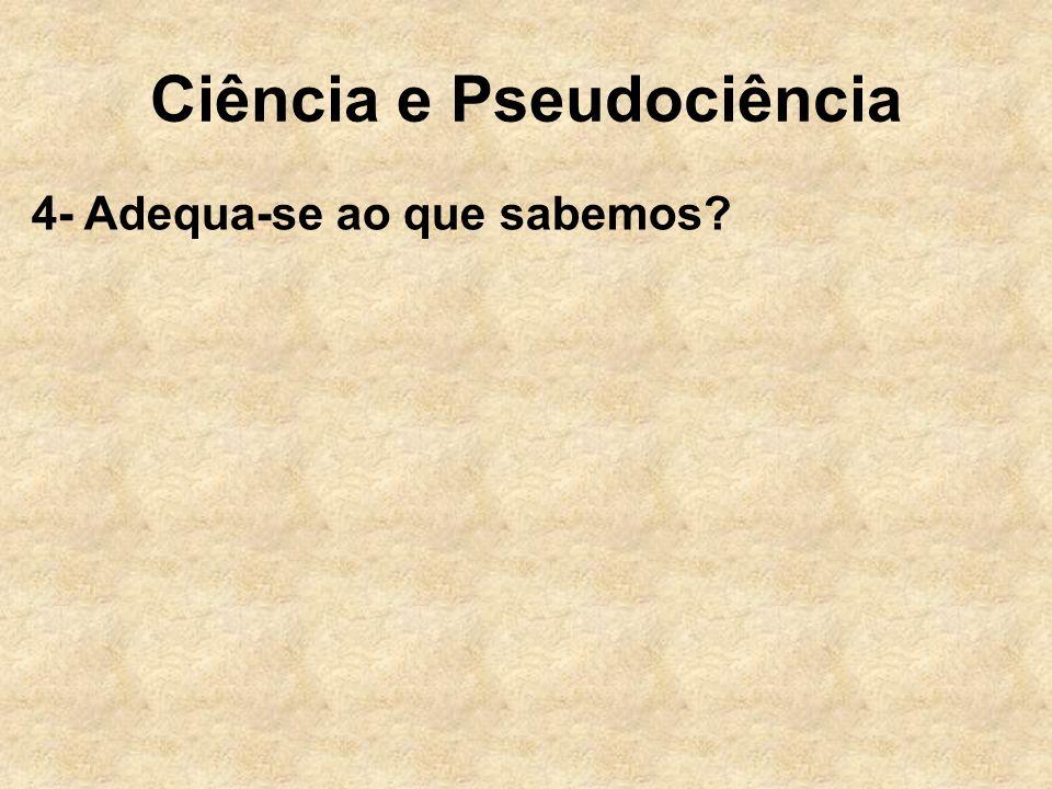 Ciência e Pseudociência 4- Adequa-se ao que sabemos?