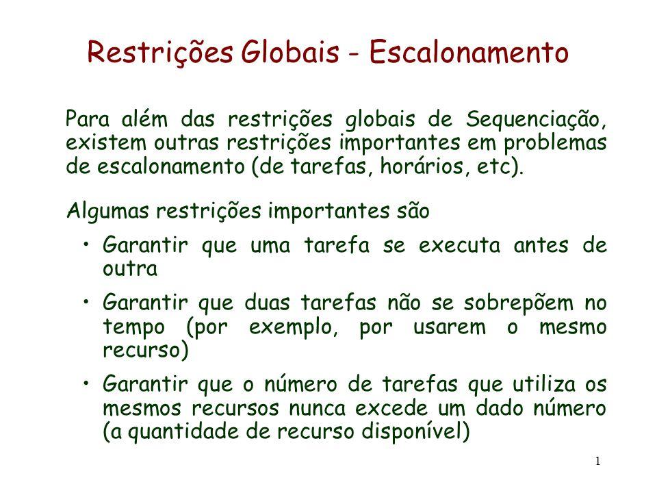 1 Restrições Globais - Escalonamento Para além das restrições globais de Sequenciação, existem outras restrições importantes em problemas de escalonam