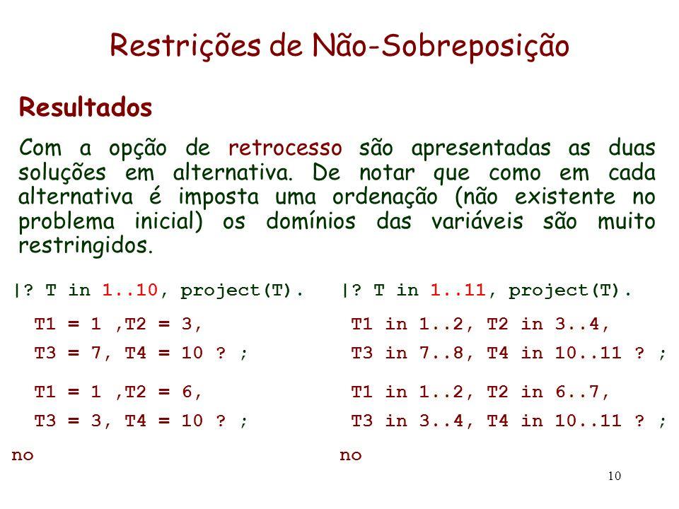 10 Restrições de Não-Sobreposição Resultados Com a opção de retrocesso são apresentadas as duas soluções em alternativa. De notar que como em cada alt