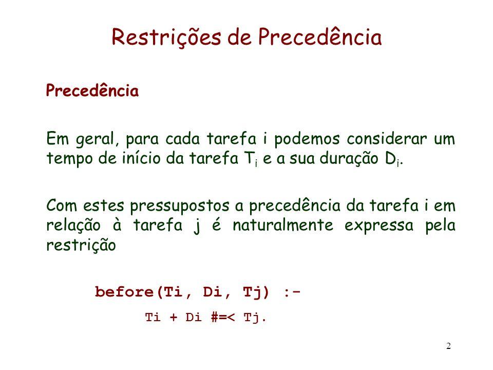 2 Restrições de Precedência Precedência Em geral, para cada tarefa i podemos considerar um tempo de início da tarefa T i e a sua duração D i. Com este
