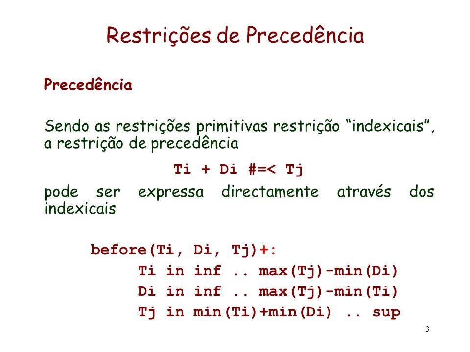 3 Restrições de Precedência Precedência Sendo as restrições primitivas restrição indexicais, a restrição de precedência Ti + Di #=< Tj pode ser expres