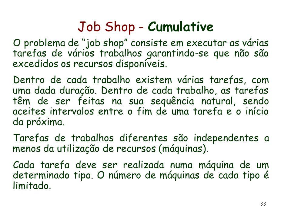 33 Job Shop - Cumulative O problema de job shop consiste em executar as várias tarefas de vários trabalhos garantindo-se que não são excedidos os recu
