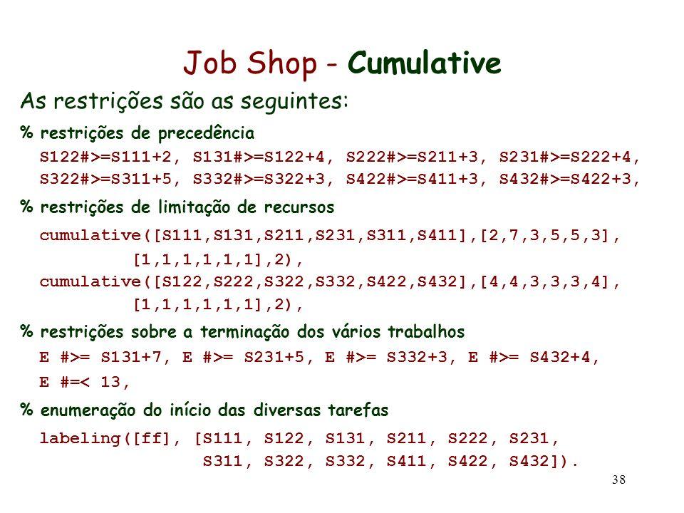 38 Job Shop - Cumulative As restrições são as seguintes: % restrições de precedência S122#>=S111+2, S131#>=S122+4, S222#>=S211+3, S231#>=S222+4, S322#