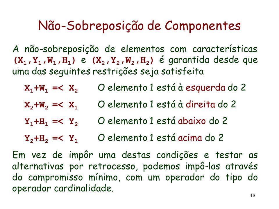 48 A não-sobreposição de elementos com características (X 1,Y 1,W 1,H 1 ) e (X 2,Y 2,W 2,H 2 ) é garantida desde que uma das seguintes restrições seja
