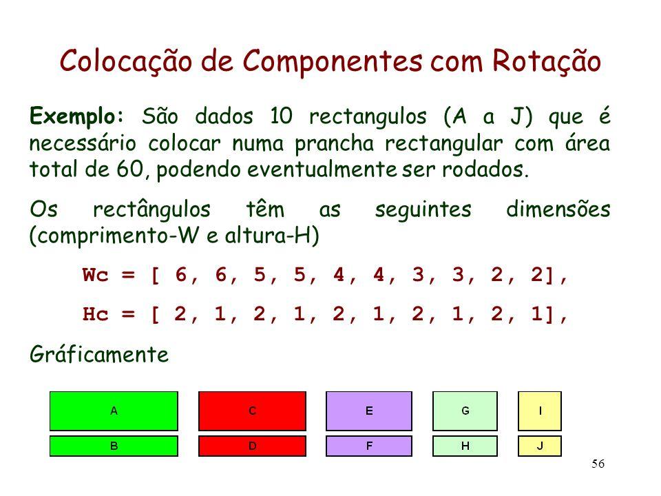 56 Exemplo: São dados 10 rectangulos (A a J) que é necessário colocar numa prancha rectangular com área total de 60, podendo eventualmente ser rodados