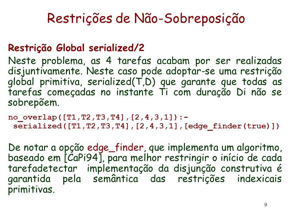 9 Restrições de Não-Sobreposição Restrição Global serialized/2 Neste problema, as 4 tarefas acabam por ser realizadas disjuntivamente. Neste caso pode