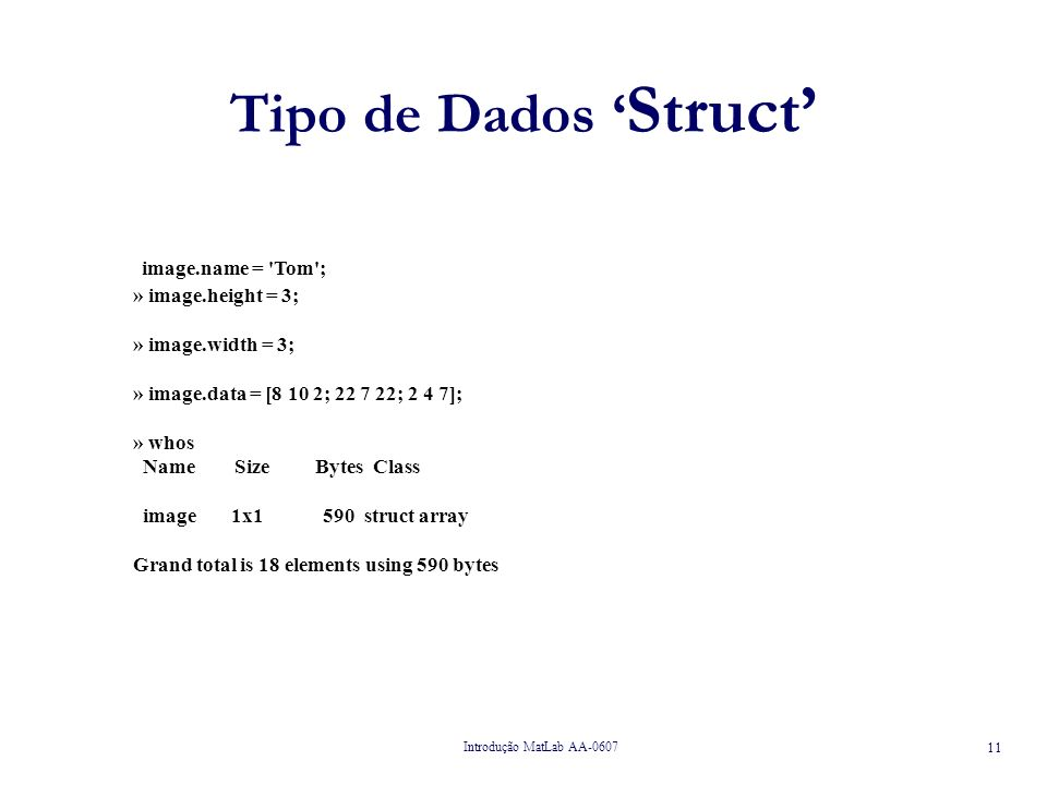 Introdução MatLab AA-0607 11 Tipo de Dados Struct image.name = Tom ; » image.height = 3; » image.width = 3; » image.data = [8 10 2; 22 7 22; 2 4 7]; » whos Name Size Bytes Class image 1x1 590 struct array Grand total is 18 elements using 590 bytes