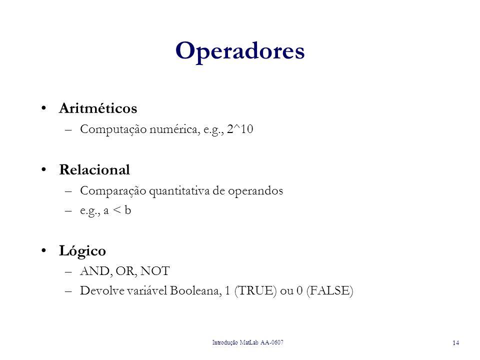 Introdução MatLab AA-0607 14 Operadores Aritméticos –Computação numérica, e.g., 2^10 Relacional –Comparação quantitativa de operandos –e.g., a < b Lógico –AND, OR, NOT –Devolve variável Booleana, 1 (TRUE) ou 0 (FALSE)