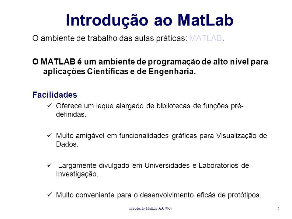 Introdução MatLab AA-0607 3 MATLAB the Language of Technical Computing Simulink for Model-based and System-Level Design Site para Consulta da Linguagem: http://www.mathworks.com/access/helpdesk/help/techdoc/learn_matlab/learn_matlab.shtml
