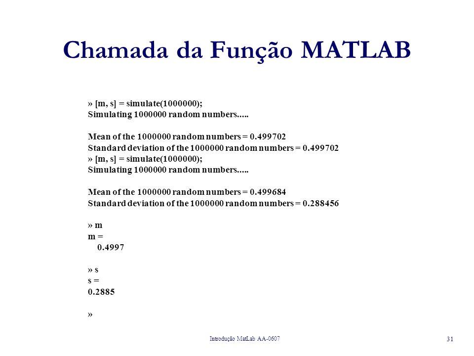 Introdução MatLab AA-0607 31 Chamada da Função MATLAB » [m, s] = simulate(1000000); Simulating 1000000 random numbers.....