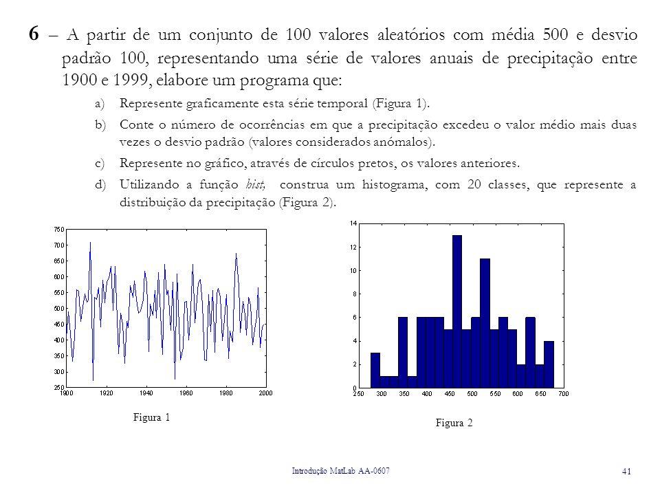 Introdução MatLab AA-0607 41 6 – A partir de um conjunto de 100 valores aleatórios com média 500 e desvio padrão 100, representando uma série de valores anuais de precipitação entre 1900 e 1999, elabore um programa que: a)Represente graficamente esta série temporal (Figura 1).