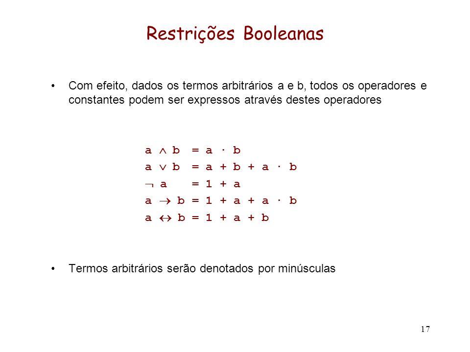 17 Restrições Booleanas Com efeito, dados os termos arbitrários a e b, todos os operadores e constantes podem ser expressos através destes operadores