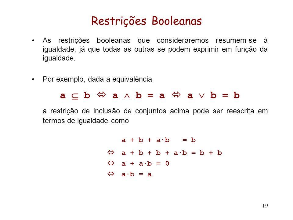 19 Restrições Booleanas As restrições booleanas que consideraremos resumem-se à igualdade, já que todas as outras se podem exprimir em função da igual