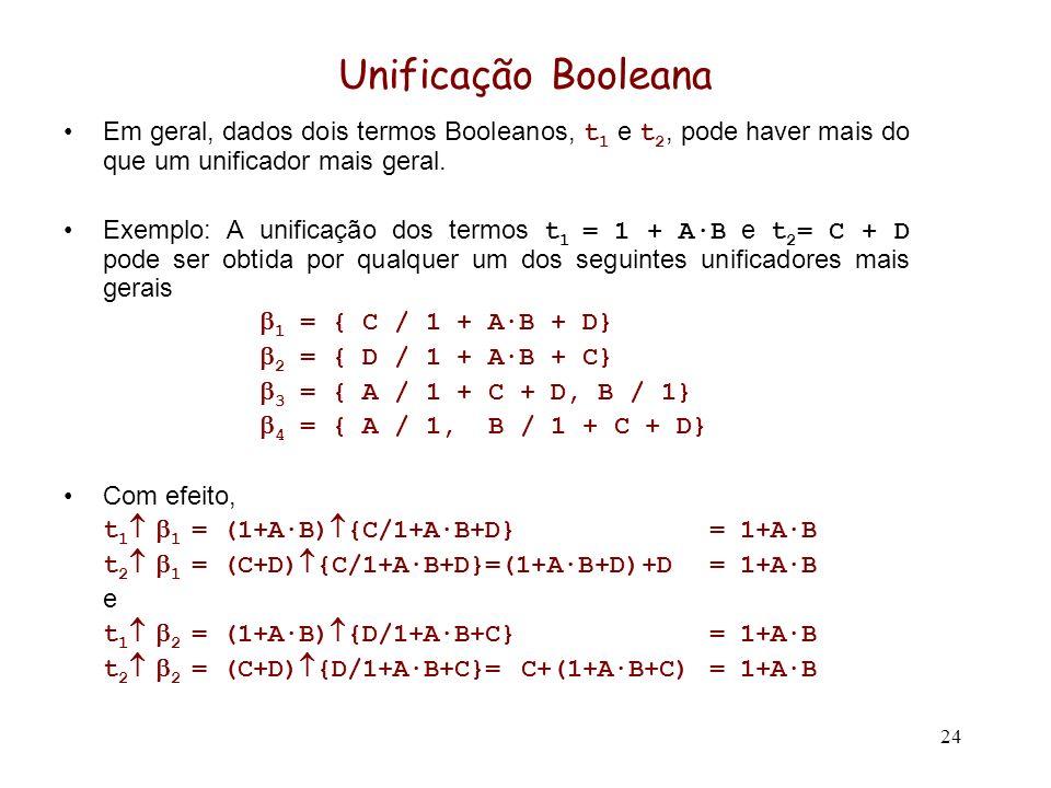 24 Unificação Booleana Em geral, dados dois termos Booleanos, t 1 e t 2, pode haver mais do que um unificador mais geral. Exemplo: A unificação dos te