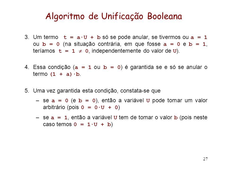 27 Algoritmo de Unificação Booleana 3.Um termo t = a·U + b só se pode anular, se tivermos ou a = 1 ou b = 0 (na situação contrária, em que fosse a = 0 e b = 1, teríamos t = 1 0, independentemente do valor de U ).