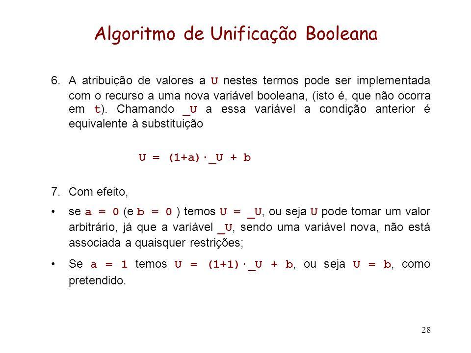 28 Algoritmo de Unificação Booleana 6.A atribuição de valores a U nestes termos pode ser implementada com o recurso a uma nova variável booleana, (isto é, que não ocorra em t ).