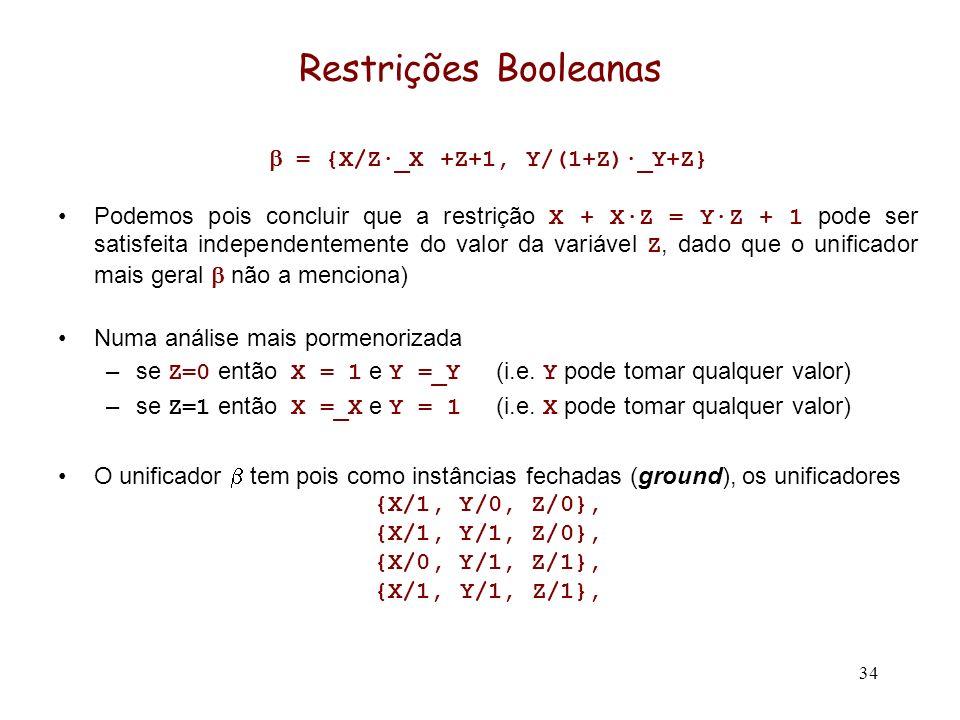 34 Restrições Booleanas = {X/Z·_X +Z+1, Y/(1+Z)·_Y+Z} Podemos pois concluir que a restrição X + X·Z = Y·Z + 1 pode ser satisfeita independentemente do valor da variável Z, dado que o unificador mais geral não a menciona) Numa análise mais pormenorizada –se Z=0 então X = 1 e Y =_Y (i.e.