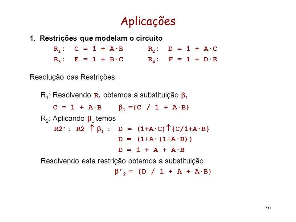 36 Aplicações 1. Restrições que modelam o circuito R 1 : C = 1 + A·BR 2 : D = 1 + A·C R 3 : E = 1 + B·CR 4 : F = 1 + D·E Resolução das Restrições R 1