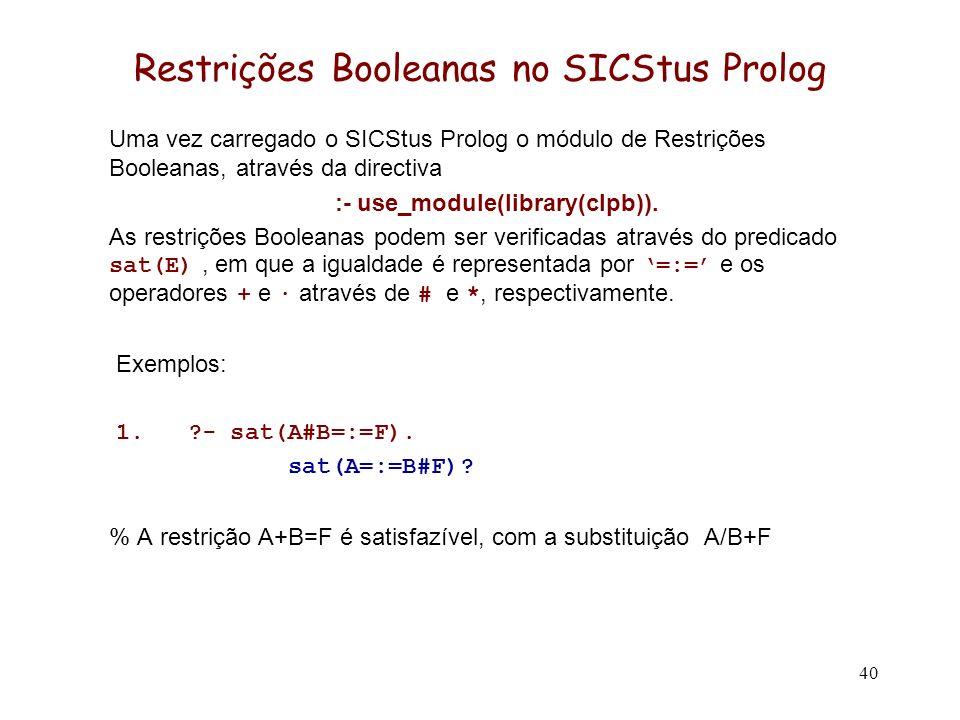 40 Restrições Booleanas no SICStus Prolog Uma vez carregado o SICStus Prolog o módulo de Restrições Booleanas, através da directiva :- use_module(libr