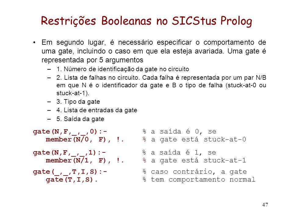 47 Restrições Booleanas no SICStus Prolog Em segundo lugar, é necessário especificar o comportamento de uma gate, incluindo o caso em que ela esteja avariada.