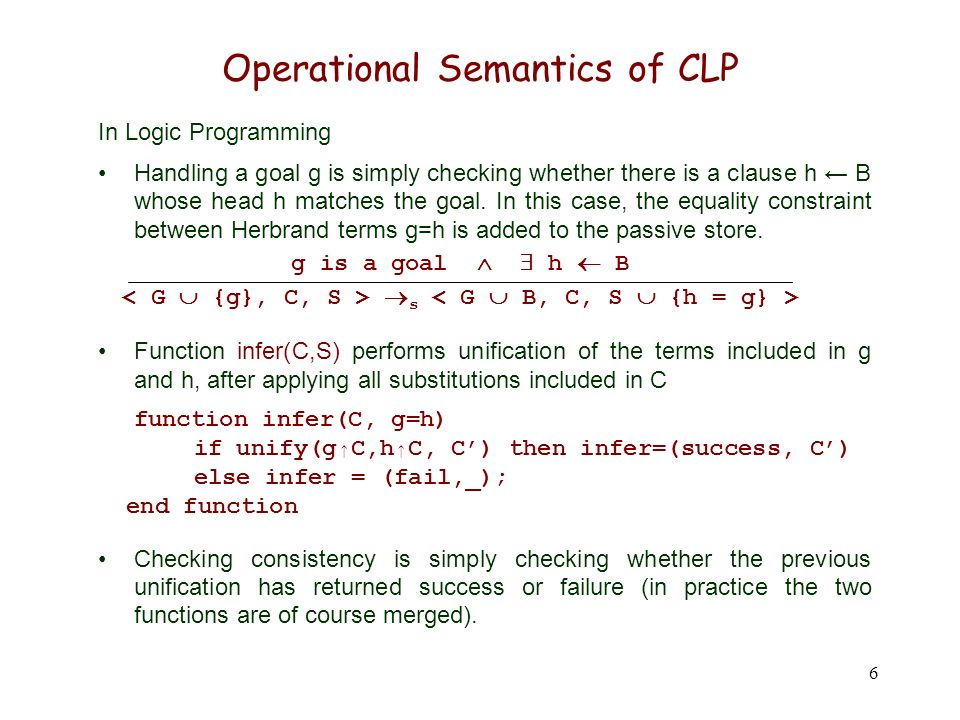 6 Operational Semantics of CLP In Logic Programming Handling a goal g is simply checking whether there is a clause h B whose head h matches the goal.