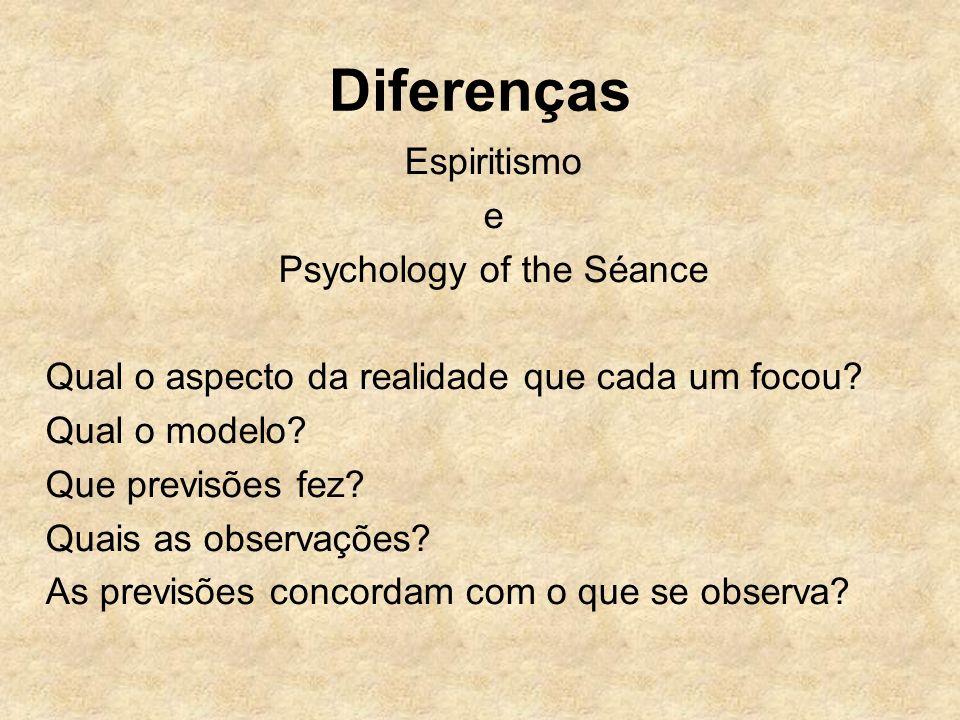 Diferenças Espiritismo e Psychology of the Séance Qual o aspecto da realidade que cada um focou? Qual o modelo? Que previsões fez? Quais as observaçõe