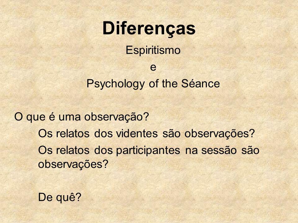 Diferenças Espiritismo e Psychology of the Séance O que é uma observação? Os relatos dos videntes são observações? Os relatos dos participantes na ses
