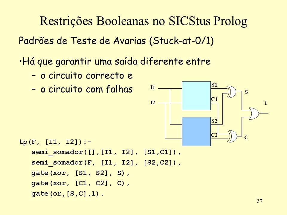 37 Restrições Booleanas no SICStus Prolog Padrões de Teste de Avarias (Stuck-at-0/1) Há que garantir uma saída diferente entre –o circuito correcto e