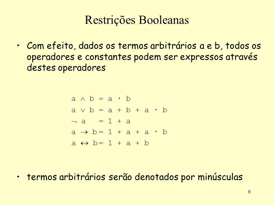 6 Restrições Booleanas Com efeito, dados os termos arbitrários a e b, todos os operadores e constantes podem ser expressos através destes operadores a