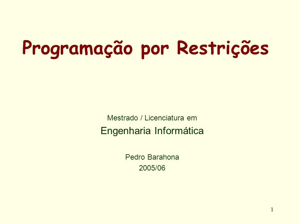 1 Programação por Restrições Mestrado / Licenciatura em Engenharia Informática Pedro Barahona 2005/06