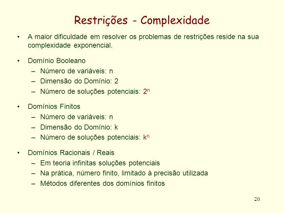 20 Restrições - Complexidade A maior dificuldade em resolver os problemas de restrições reside na sua complexidade exponencial.