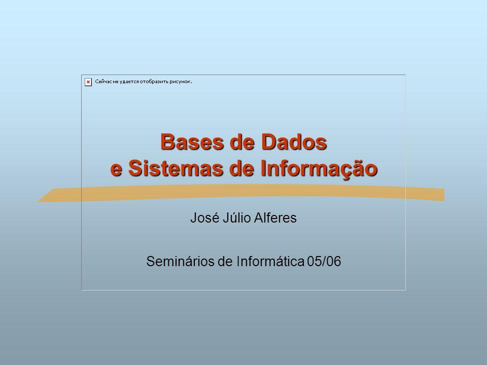 Bases de Dados e Sistemas de Informação2Seminários de Informática 04/05 Sumário O que são Bases de Dados: Sistemas de Gestão de Bases de Dados Exemplos de aplicação Modelos de dados Linguagens de Definição e de Manipulação de Dados Utilizadores de Bases de Dados Componentes de um Sistema de Bases de dados Mais sobre Sistemas de Informação: Data Warehousing (armazéns de dados) Data Mining Sistemas de Informação para a Web