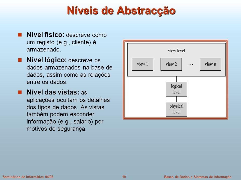 Bases de Dados e Sistemas de Informação10Seminários de Informática 04/05 Níveis de Abstracção Nível físico: descreve como um registo (e.g., cliente) é