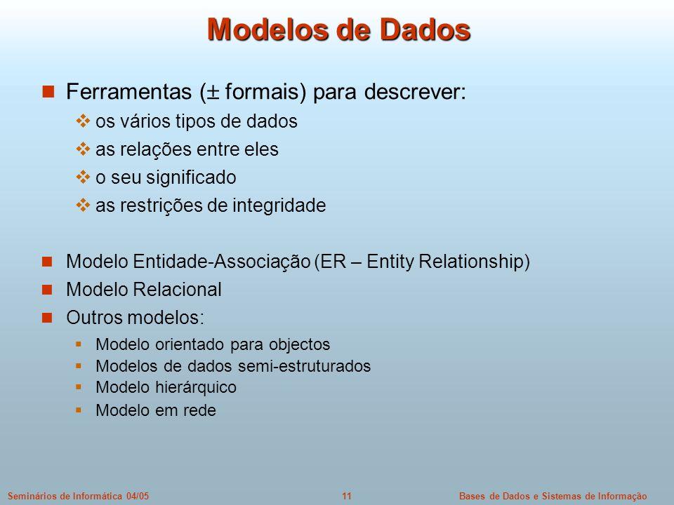Bases de Dados e Sistemas de Informação11Seminários de Informática 04/05 Modelos de Dados Ferramentas ( formais) para descrever: os vários tipos de da