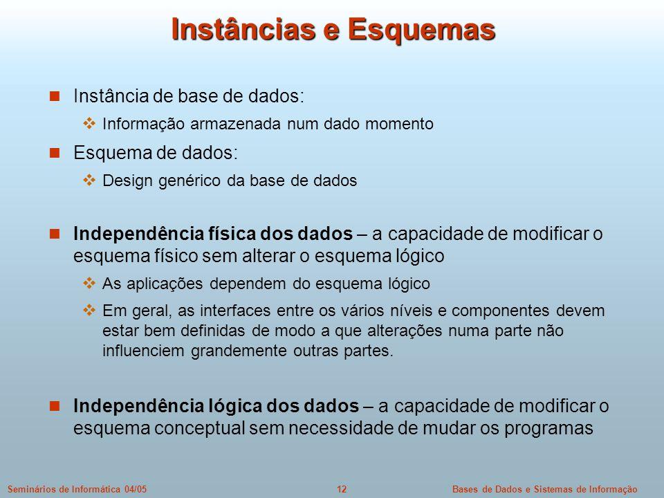 Bases de Dados e Sistemas de Informação12Seminários de Informática 04/05 Instâncias e Esquemas Instância de base de dados: Informação armazenada num d