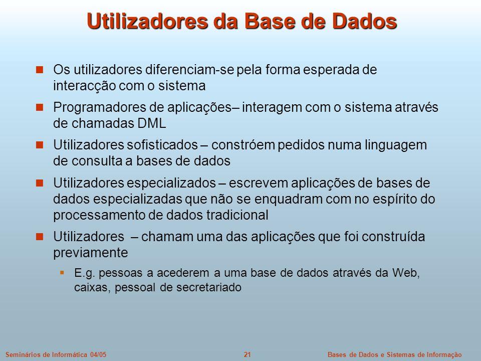 Bases de Dados e Sistemas de Informação21Seminários de Informática 04/05 Utilizadores da Base de Dados Os utilizadores diferenciam-se pela forma esper