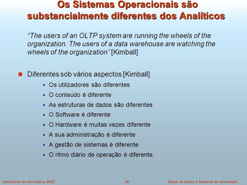 Bases de Dados e Sistemas de Informação28Seminários de Informática 04/05 Os Sistemas Operacionais são substancialmente diferentes dos Analíticos Os Si