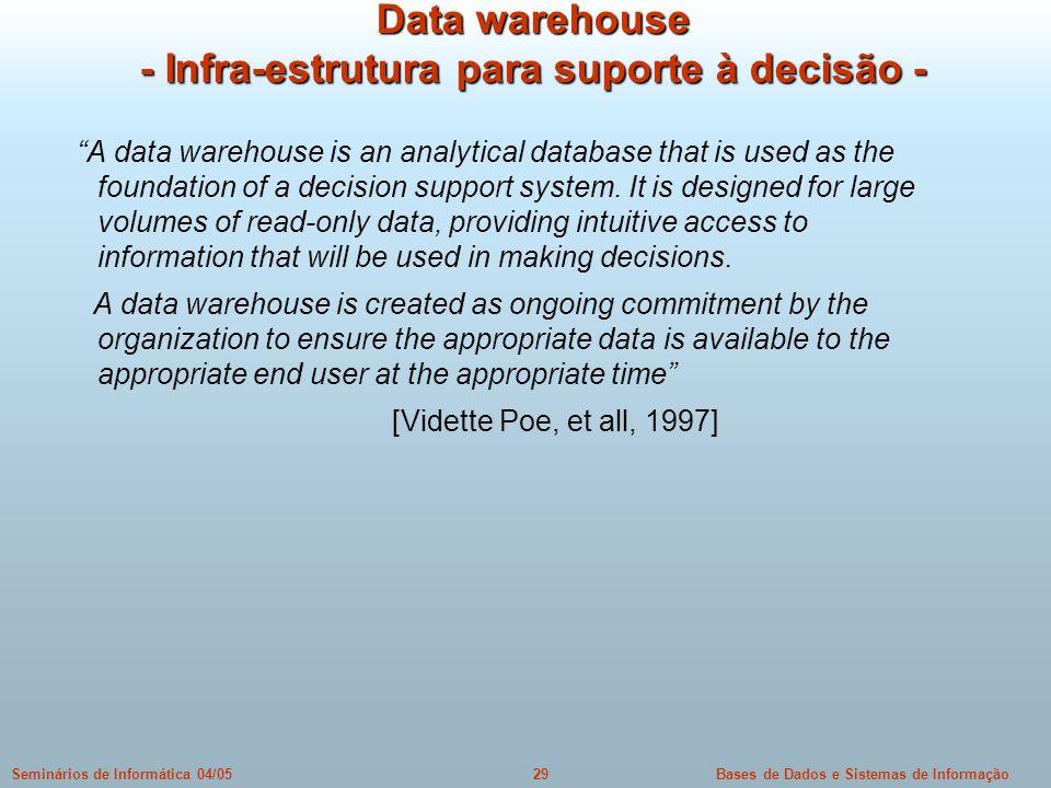 Bases de Dados e Sistemas de Informação29Seminários de Informática 04/05 Data warehouse - Infra-estrutura para suporte à decisão - A data warehouse is