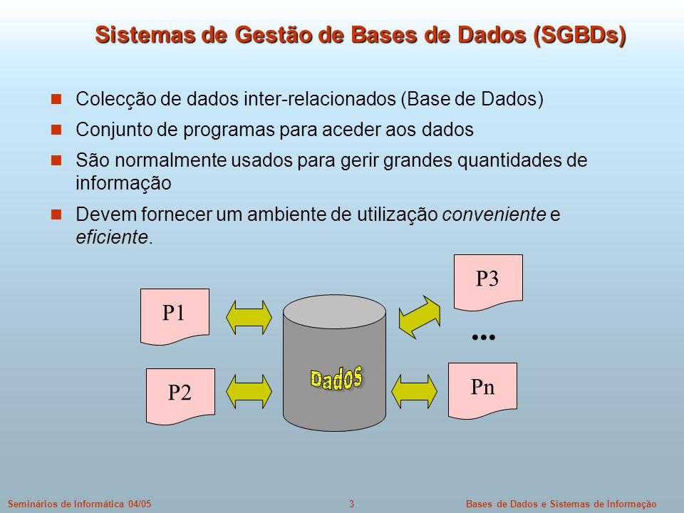 Bases de Dados e Sistemas de Informação3Seminários de Informática 04/05 Sistemas de Gestão de Bases de Dados (SGBDs) Colecção de dados inter-relaciona