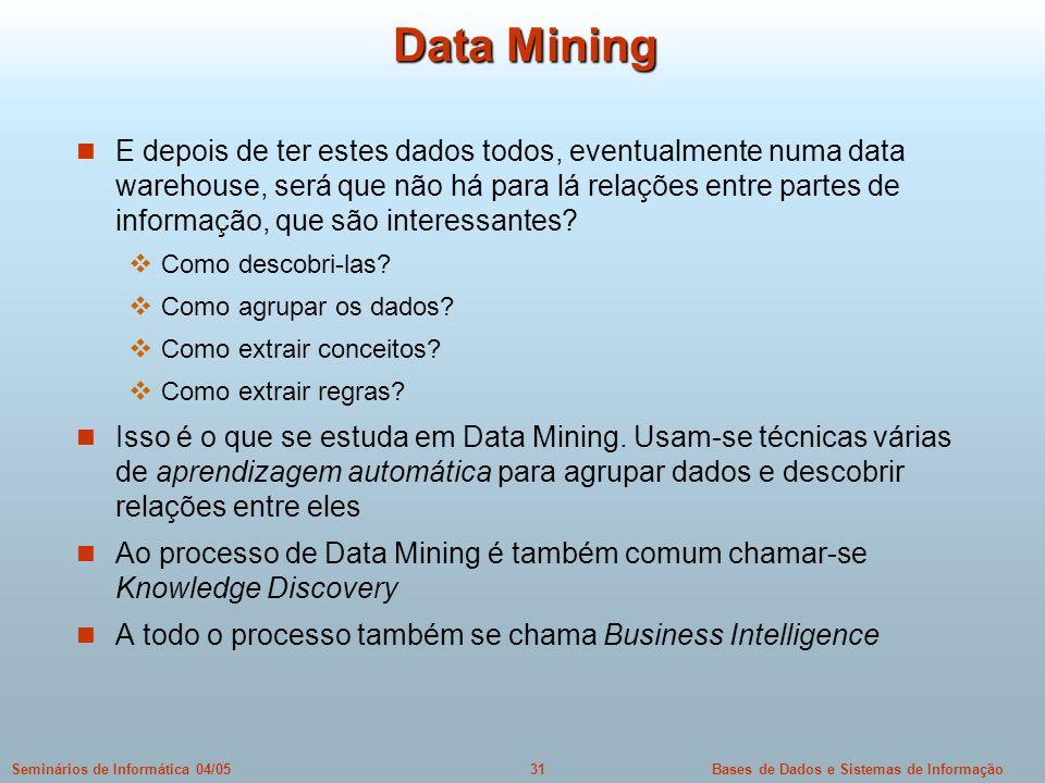 Bases de Dados e Sistemas de Informação31Seminários de Informática 04/05 Data Mining E depois de ter estes dados todos, eventualmente numa data wareho