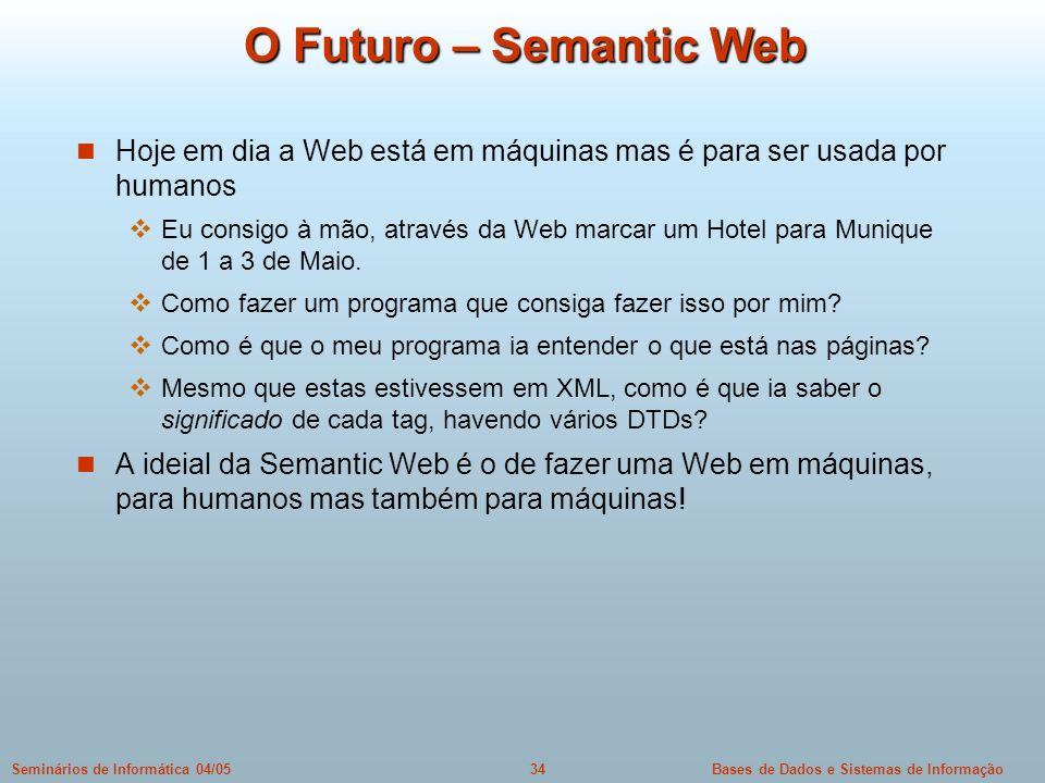 Bases de Dados e Sistemas de Informação34Seminários de Informática 04/05 O Futuro – Semantic Web Hoje em dia a Web está em máquinas mas é para ser usa