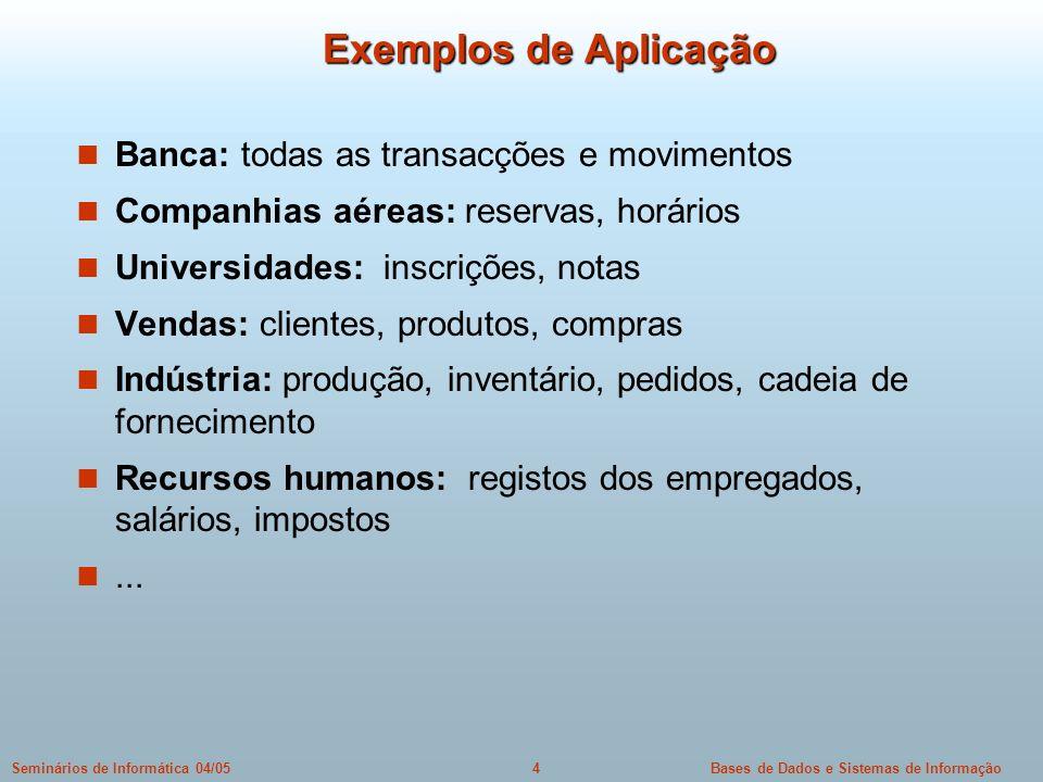 Bases de Dados e Sistemas de Informação4Seminários de Informática 04/05 Exemplos de Aplicação Banca: todas as transacções e movimentos Companhias aére